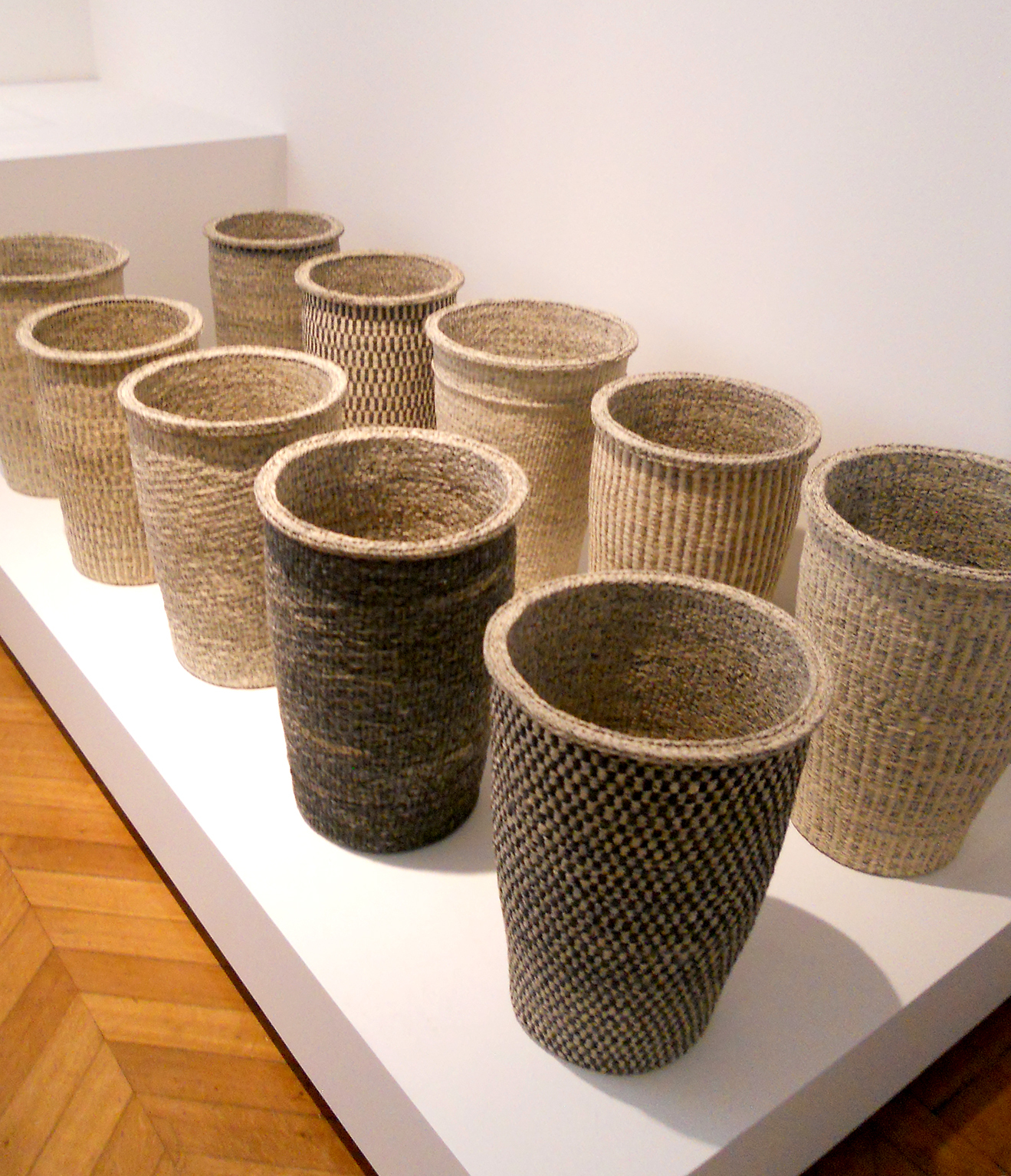 Baskets woven from paper by Kang Sung-hee