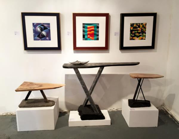 Shane Holland Design: X Tables & Raymond Kinghan: Acrylic on canvas framed from Science Series