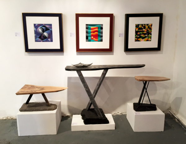 Shane Holland Design: X Tables & Raymond Kinghan: Acrylic on canvas framed from Science Series
