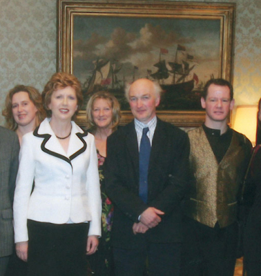 Joe Hogan (centre) & Denis Brown (right) receiving the Bursary in 2006 from President Mary McAleese