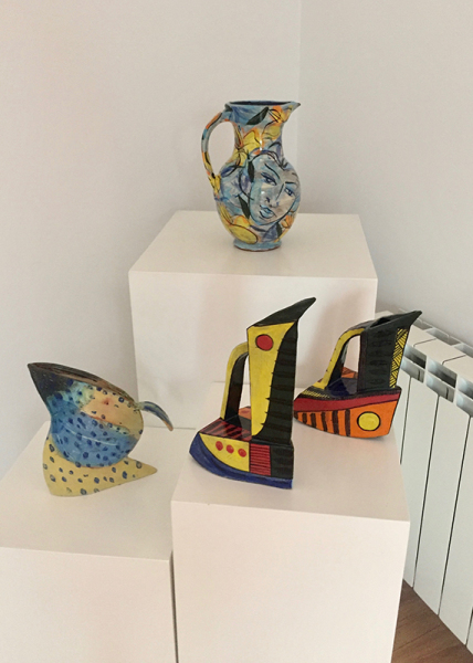 Diane McCormick (left) with Etain Hickey & Jim Turner collaboration jugs