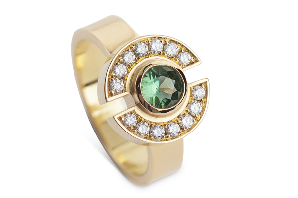 Yvonne Ross: Green Sapphire Halved Halo Ring