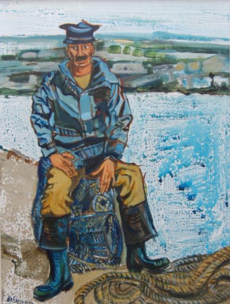 john behan kennys galway irish craft making Fisherman seated on lobster pot