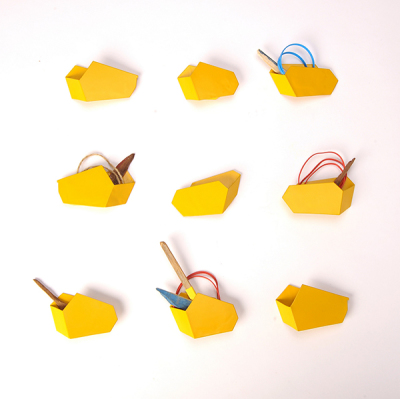 Gold and yellow skip brooches