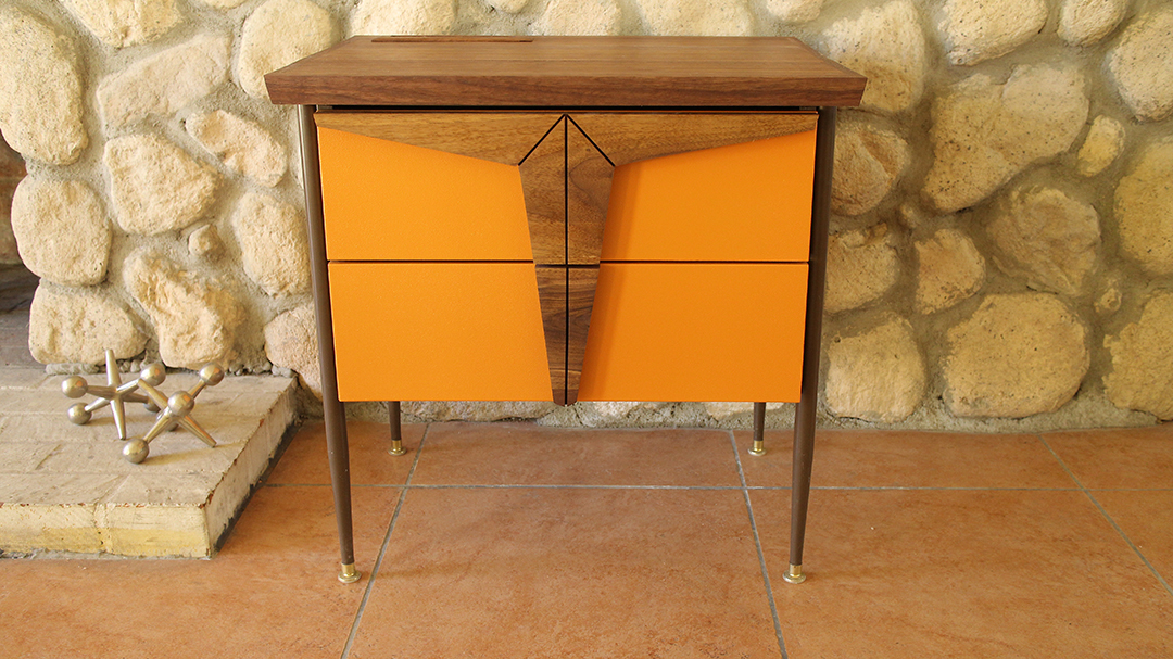 Mid-century Modern Furniture, Nightstand, end table, wood crafts, diy, Mid century Orange