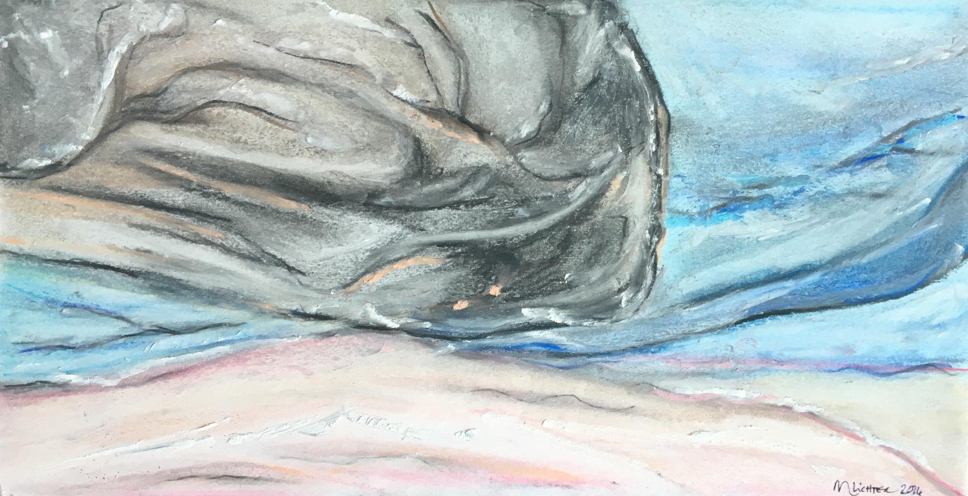 Reoriented, acrylic on canvas, pastel, original by Artist Mindy Lichter.  MLICHTER fINE ART dESIGN.