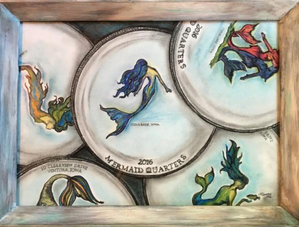 Mermaid Quarters, acrylic on canvas, original by Artist Mindy Lichter.  MLICHTER fINE ART dESIGN.
