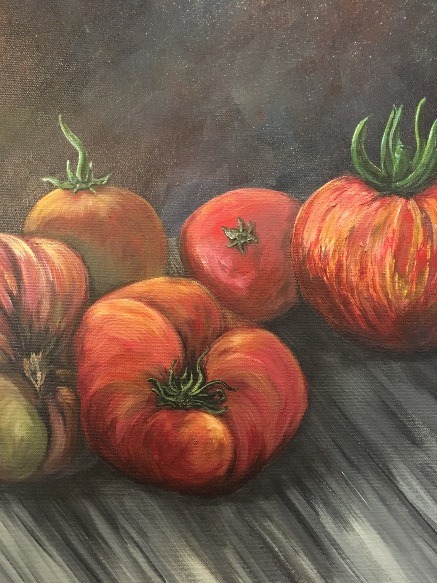 Heirlooms, tomatoes, acrylic on canvas, original by Artist Mindy Lichter.  MLICHTER fINE ART dESIGN.