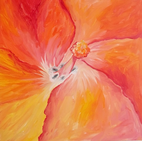 Hibiscus, acrylic on canvas, original by Artist Mindy Lichter.  MLICHTER fINE ART dESIGN.