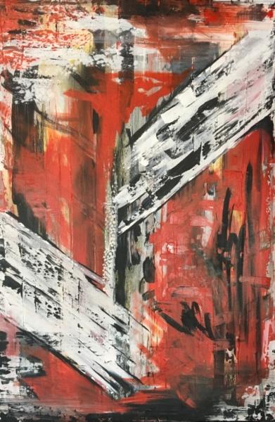 Crossfire, acrylic on canvas, original by Artist Mindy Lichter.  MLICHTER fINE ART dESIGN.