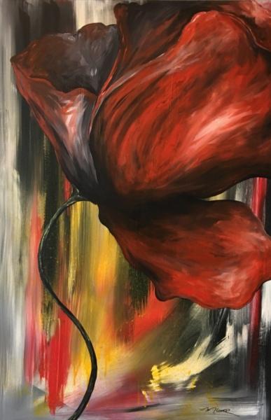 Poppy, acrylic on canvas, original by Artist Mindy Lichter.  MLICHTER fINE ART dESIGN.