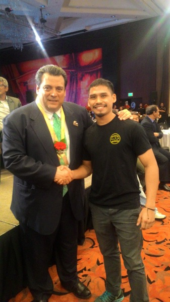 Aiman Abu Bakar with President of the WBC Mauricio Sulaiman