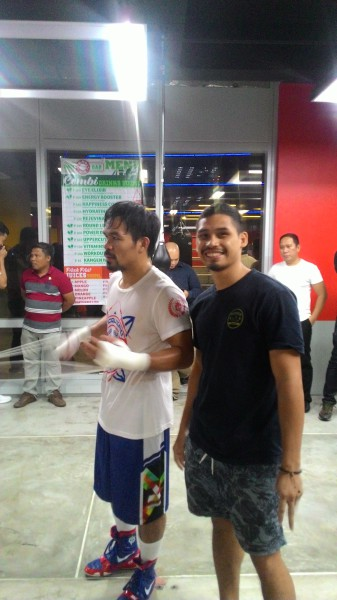 Professional Boxer Aiman Abu Bakar with Boxing Great Manny Pacquiao