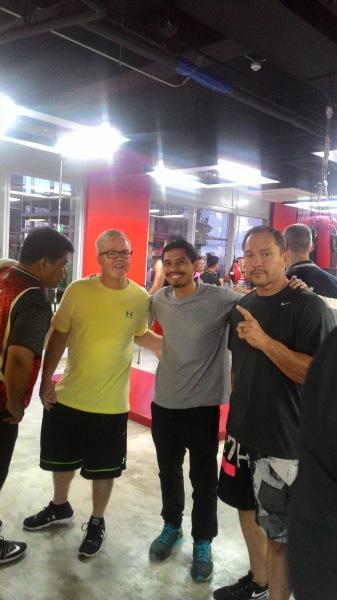 Freddie Roach, Aiman Abu Bakar and Justin Fortune