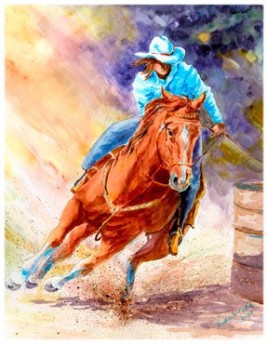 """Cowgirl . watercolor . Image 10 1/2""""x13 1/2"""""""