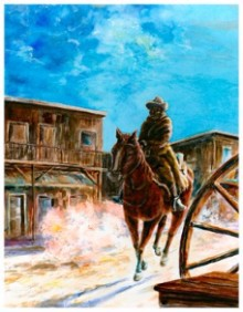 """Lonely Rider .watercolor.Image 10 1/2""""x13 1/2"""""""