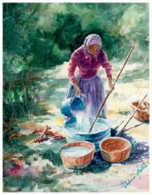 "Indian Girl .watercolor. Image 10 1/2""x13 1/2"""