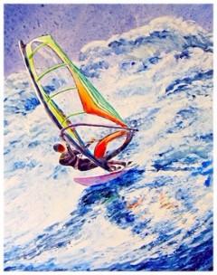 "Big Wave . watercolor on Yupo. 10 1/2""x13 1/2"""