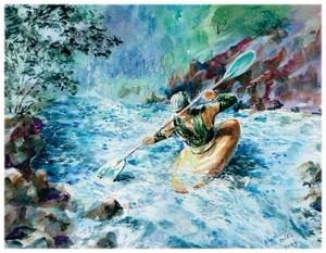 """Arkansas River Kayaking.watercolor.13 1/2""""x10 1/2"""""""