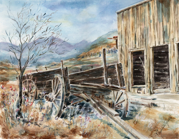 Ghost Town , watercolor . (sold)