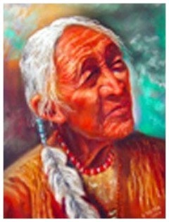 """Indian Chief .pastel. Image 10 1/2""""x13 1/2"""""""