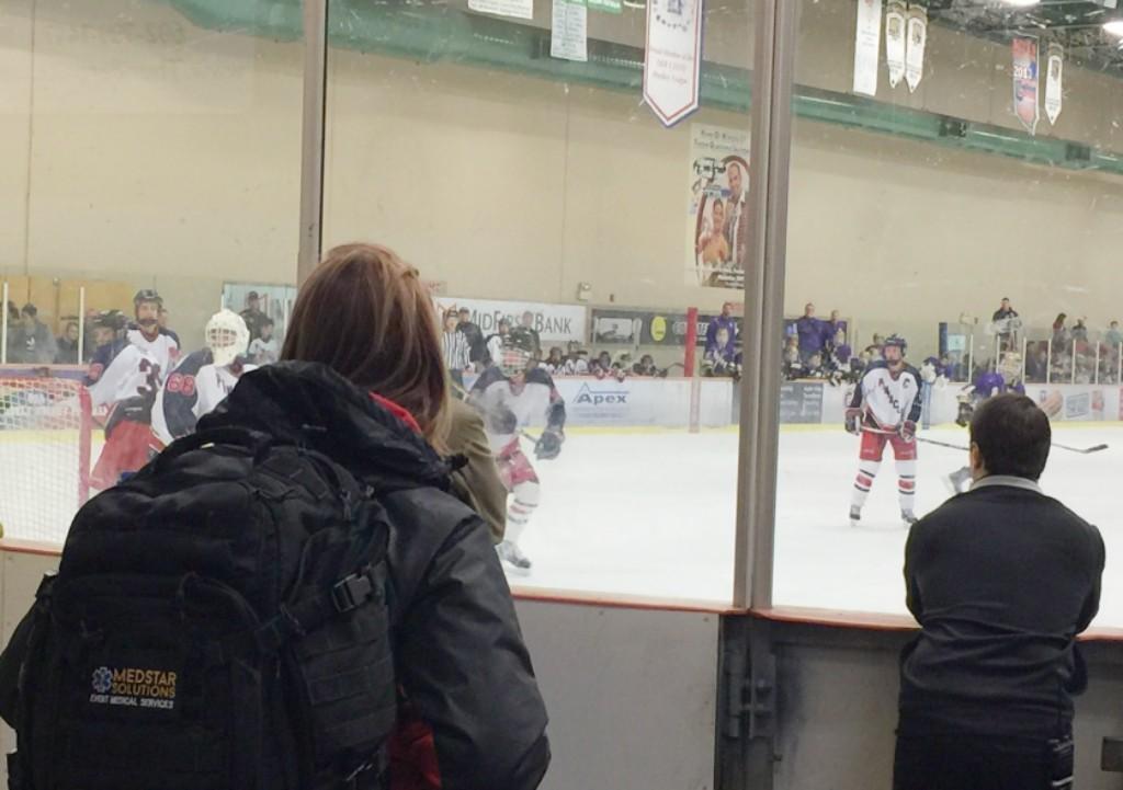 Michelle at Hockey