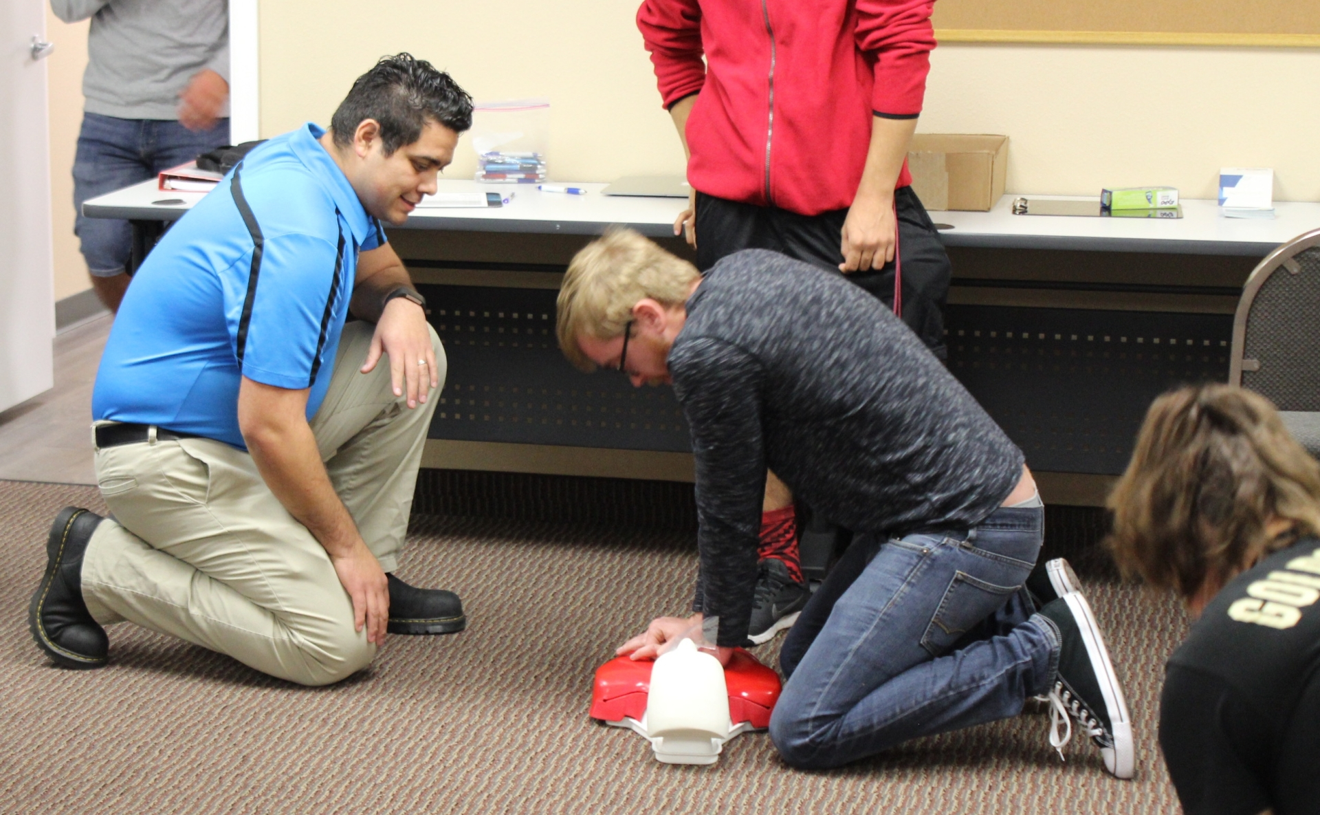 Practicing compressions for Adult CPR