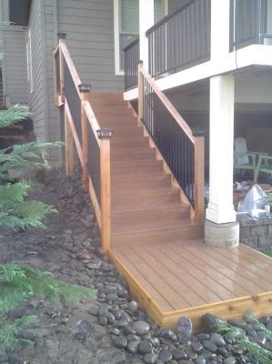 Composite treads, Cedar wraps/ post