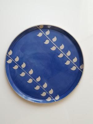 25cm handmade blue leaf plate