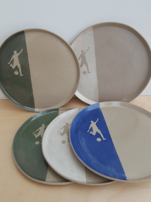 25cm handmade af plate with football silhouette