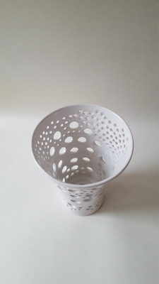 Handmade carved ceramic V shaped white lampshade with holes