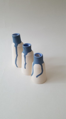 Blue topped vases