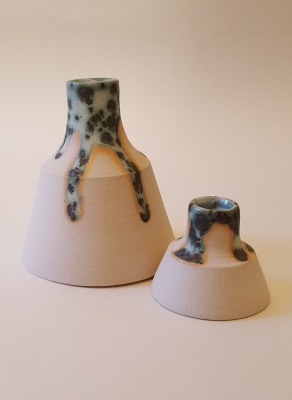 Vases/bottles with speckled green and black glaze