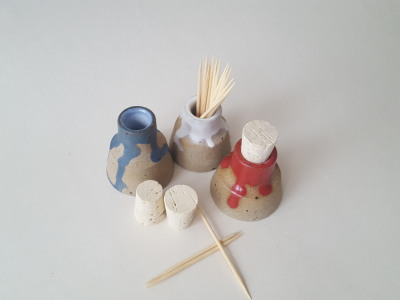Mini vase or bottle made with stoneware clay