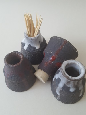 Mini vase or bottle made with black clay topped red, white or plain