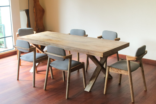 Lark Dining Chairs + Cross Dining Table- Made in Kenya