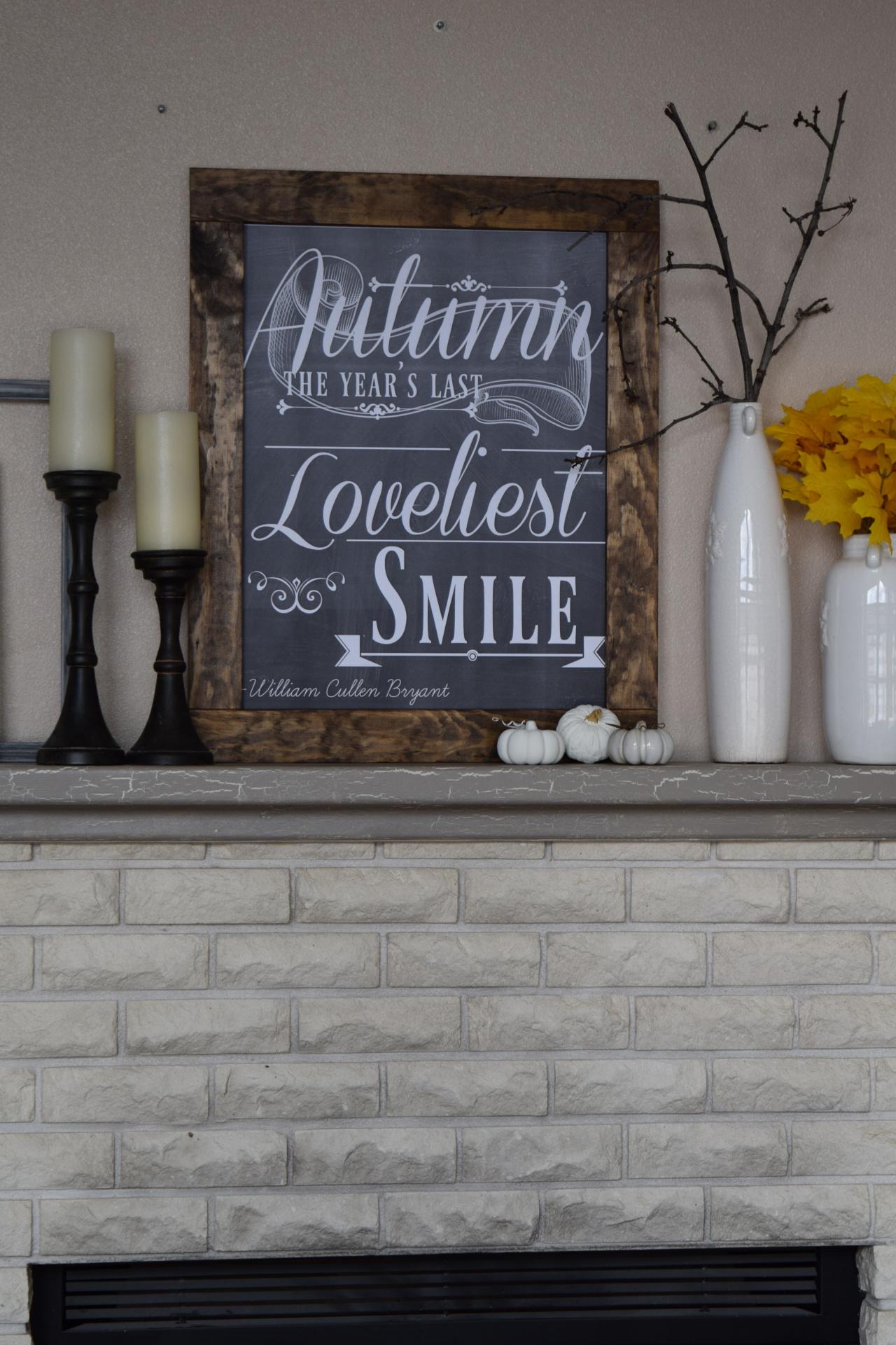 Autumn's Smile digital print/chalkboard fall art
