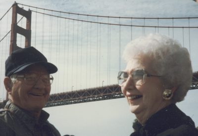 My mom and dad under the Golden Gate Bridge