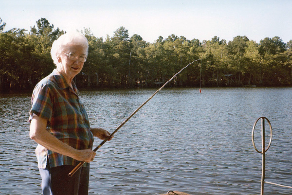 My mom on the dock at the family camp