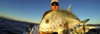 Watch Luke with a Giant Trevally landed on 4lb braid