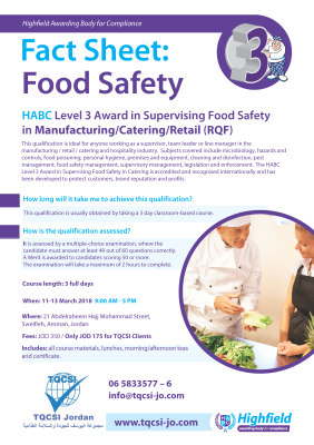 Level 3 Award in Supervising Food Safety
