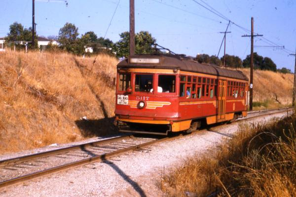Westbound on the Santa Monica Air Line west of Palms Depot (1953)