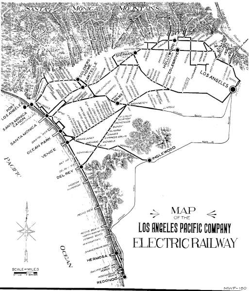 Los Angeles Pacific Railway Map