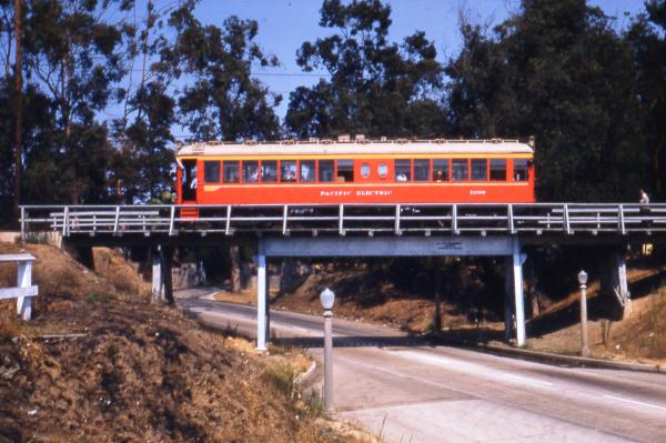 Westbound on the Santa Monica Air Line over Motor Avenue (1953)