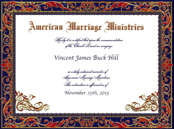 Ordination, AMM, American Marriage Ministries