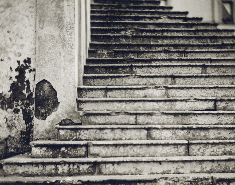 Italy, large format photography, sepia, analog photography, Italian landscapes, Italian cityscapes, Domenico Foschi, stairs
