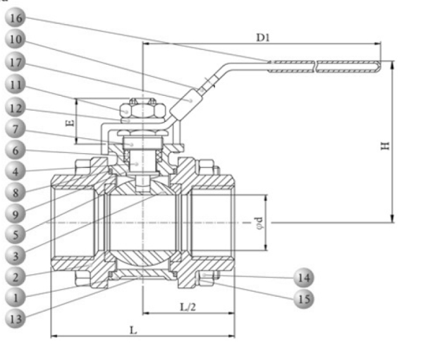 Carbon steel ball valve dwg