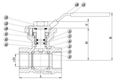 Brass ball valve dwg
