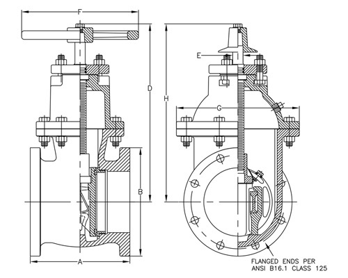 Cast Iron Gate Valve dwg