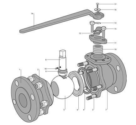2-Piece Flanged Floating Ball Valve dwg